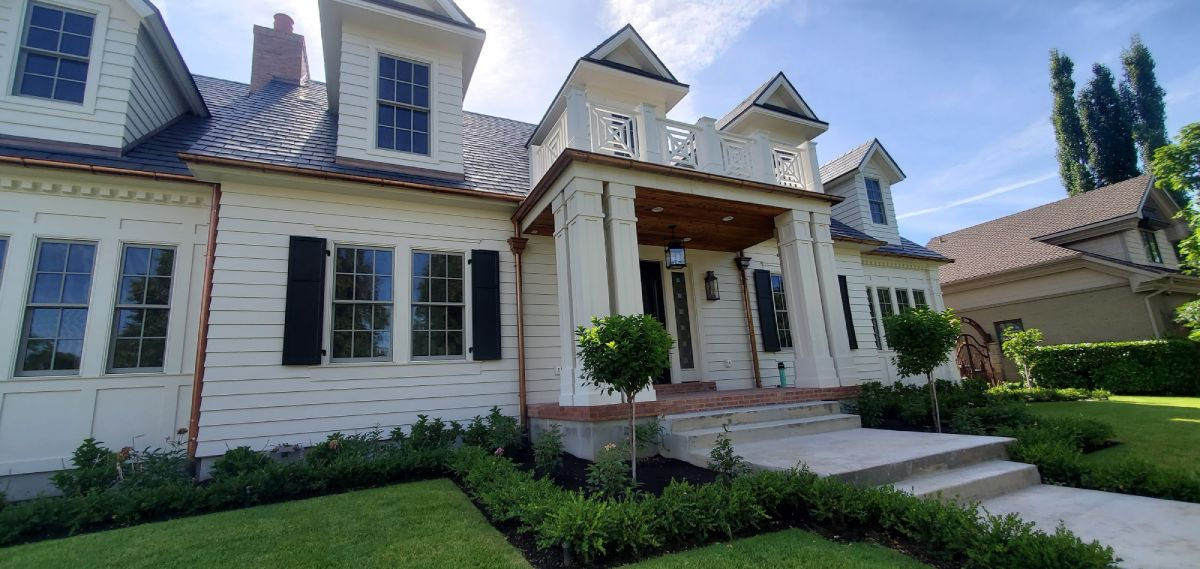 home with landscaped frontyard